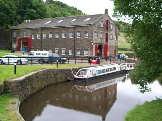 Marsden, UK: visitors centre and covered barge used for tunnel ride