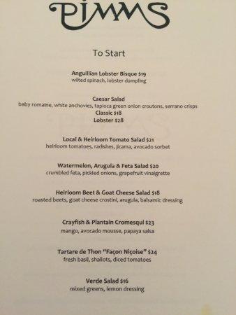 Pimms Restaurant: new menu