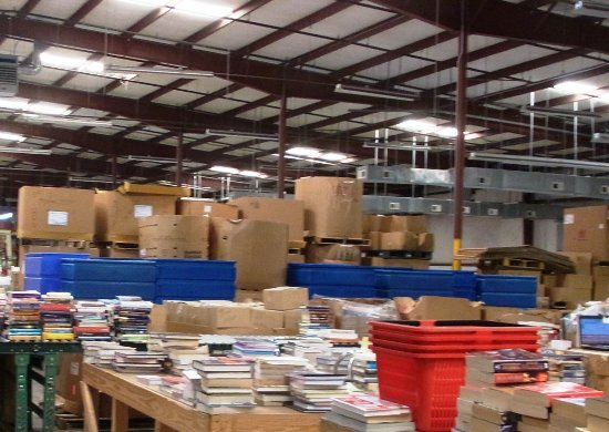 Mebane, NC: The area where employees were sorting books into categories