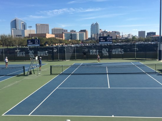 View of Downtown Houston from George R Brown Tennis Center on Rice