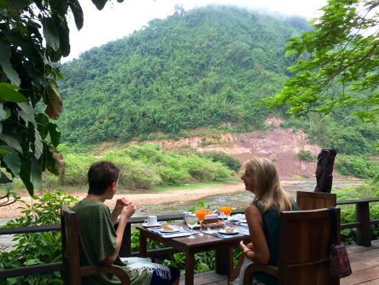 Muang La, Laos: Breakfast overlooking the Nam Pak