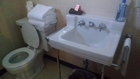 Montpelier, ID: Bathroom, with ugly old sink and a little brown rag with a note saying to use it for makeup remo