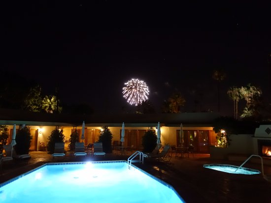 The Hacienda at Warm Sands: Watching 4th of July fireworks from the Hacienda pool.