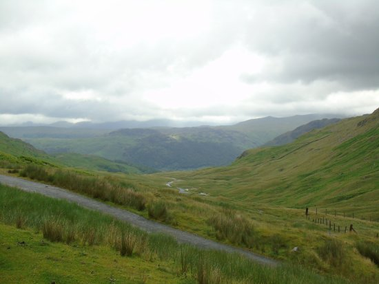 YHA Honister Hause: View from car park and road up to it