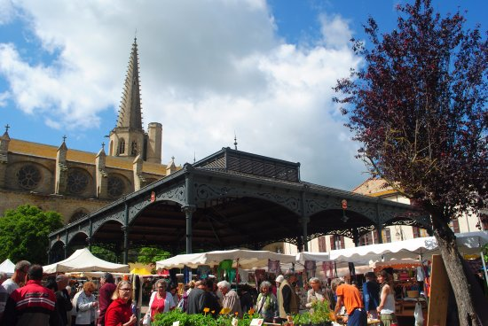Mirepoix, Frankrike: Wonderful contrast, the Monday market and peaceful cathedral.
