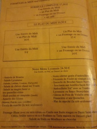 Bistrot de Saint Jean : Carte