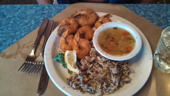 Fair Haven, MI: Coconut Crusted Shrimp w/Pineapple Rum Sauce (note size to lemon)