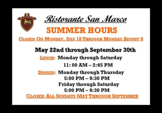 Ristorante San Marco: We Look Forward to Serving You!