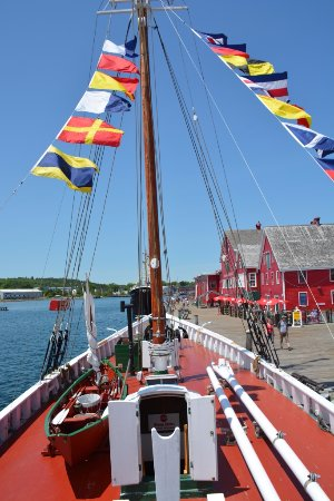Lunenburg, Canada: Museum buildings and Cape Sable schooner seen from Theresa