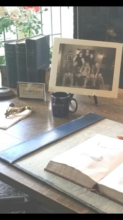 "Mayowood Mansion: The shiny new ""historical accurate"" Mayo Clinic mug sitting on C.W. Mayo's desk."