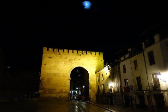 Puerta de Elvira : Una impresionante vista de la Puerta Elvira. De noche con la luna sobre ella.