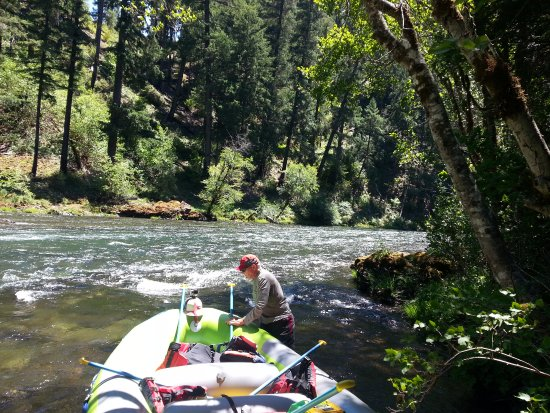 Springfield, OR: Guide getting raft secured on Umpqua