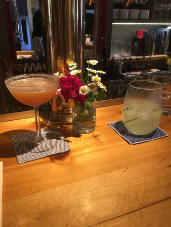 Ludlow, Vermont: Two unique drinks (partially consumed).
