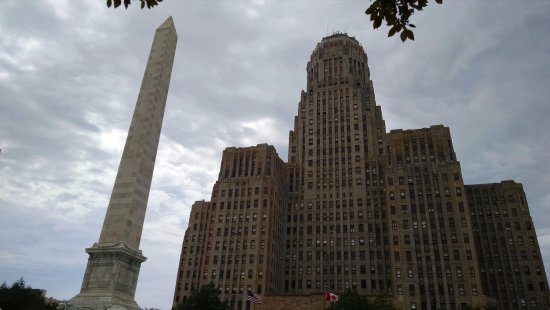 Buffalo City Hall: view from bench in niagra square
