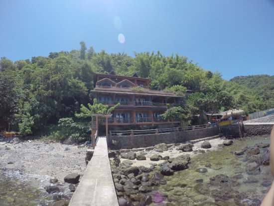 Portulano Dive Resort: View from the boat upon arrival.