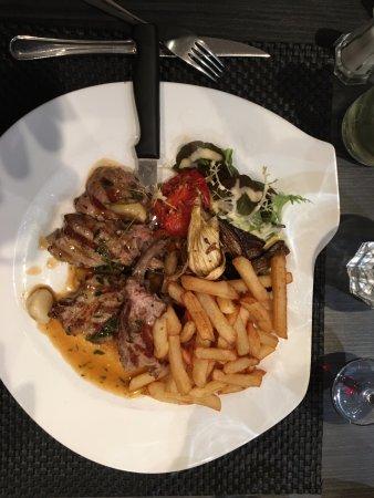 Etaples, France : Lamb with ratatouille and fries