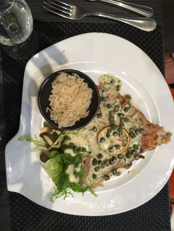Etaples, France : Wing of raie (ray) caper sauce and rice