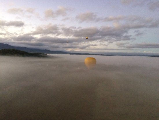 Mareeba, Australien: Slowly rising above the early morning ground fog.