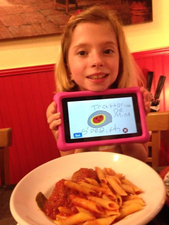 Kids' penne with meatballs:  if you can't eat dinner in Venezia, Italia, the next best thing is