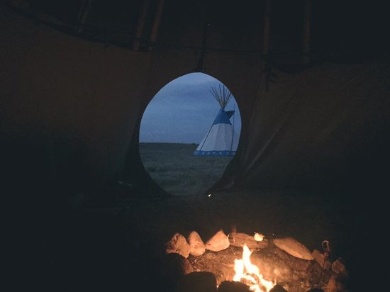 Browning, MT: from inside tepee towards the 'door'
