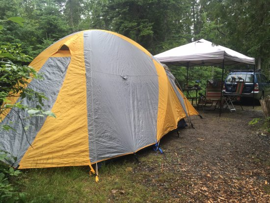 Seawall Campground: Campsite with tent, canopy and car