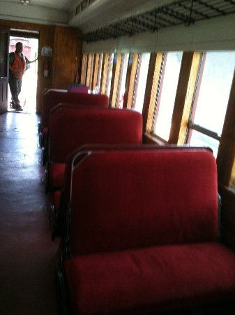 Belfast, ME: Interior of the covered coach car.