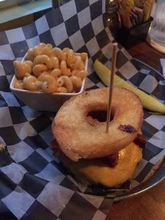 Hummelstown, PA: Kids Mac and cheese and the donut burger.