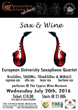 Erimi, ไซปรัส: Σαξ & Οίνος  Το Κουαρτέτο Σαξοφώνων του Ευρωπαϊκού Πανεπιστημίου Κύπρου  Γιώργος Κρασίδης (σοπρά