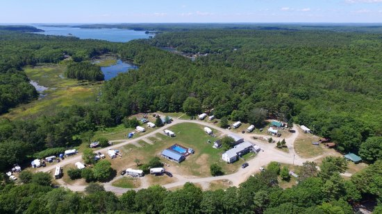 Phippsburg, ME: Arial Photo of Campground. Tent sites are in Wooded area