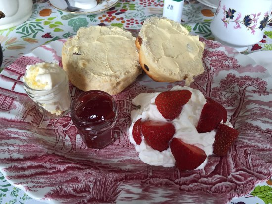 Bolton, UK: Pre-sliced and margarine coated scone.