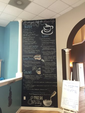 Verona, VA: Beautiful hand drawn menu towards front counter--