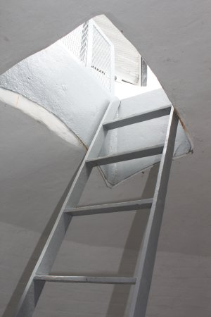 Piney Point Lighthouse: A ladder finishes the climb to the top and outside view