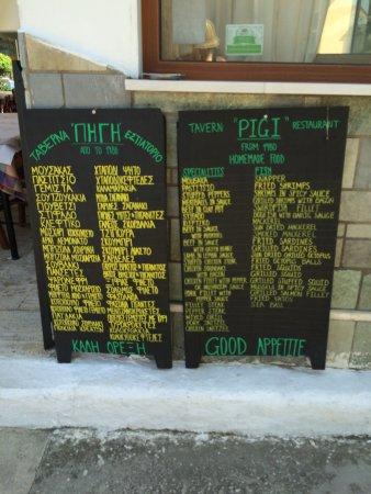 Pigi Taverna: Selection of meals advertised outside of Pigi.