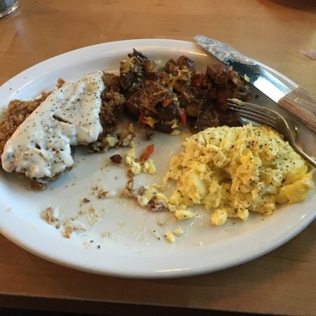 Norman, OK: Great food.  Special Sunday brunch item.  Split and still too much.  Great price too.