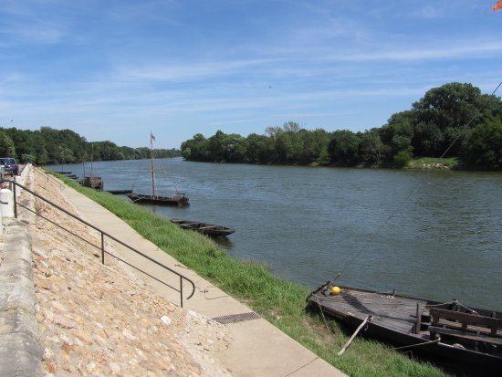 Chouze-sur-Loire, Francia: Blick von dem Cafe über die Loire flußaufwärts