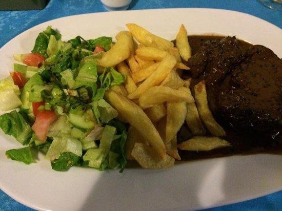 Bogaz, Cyprus: Peppered steak (well done)