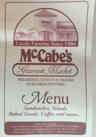 McCabe's Gourmet Market: Menu Front Cover July 2016
