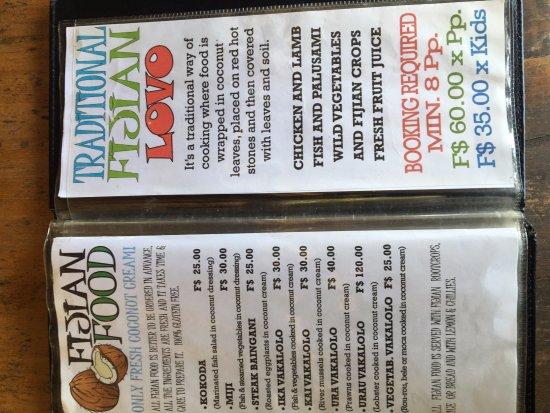 Eco Cafe Fiji Menu