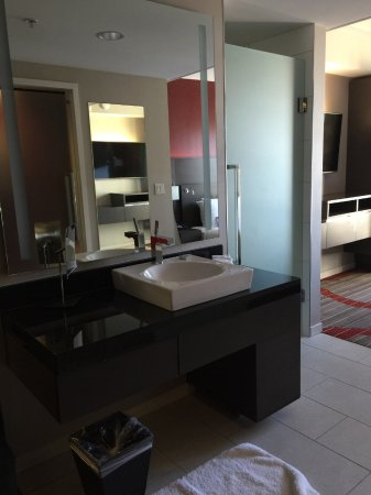 Open Concept Bathroom Sink Outside Inbetween Living Area And