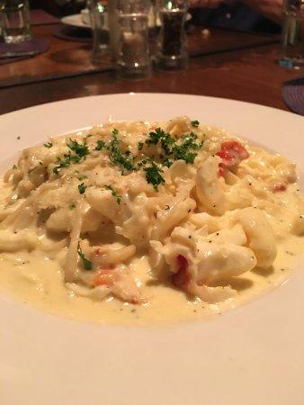 Nevis: Fresh Local Lobster Linguini in a Saffron Cream Sauce