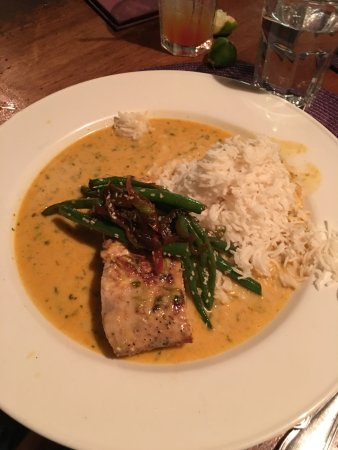 "Nevis: ""Fresh Local catch of the day"" Lemon Butter Sauce, served w/ Basmati Rice & Mixed Fresh Vegetabl"