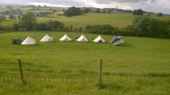 Corwen, UK: campsite looking down from Iron age hill fort