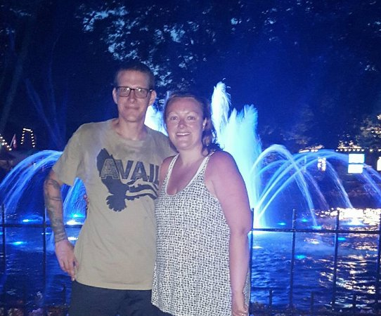 Kings Dominion: in front of the fountains at night.