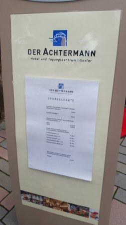 Hotel Achtermann: Menu kort
