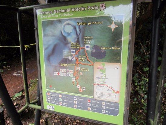 Poas Volcano National Park, Costa Rica: overview sign