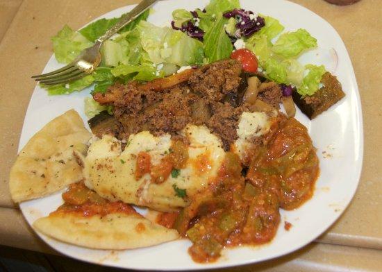 Opa! Opa! Authentic Greek Restaurant: Moussaka, Salad, Green Bean Salad, Breads