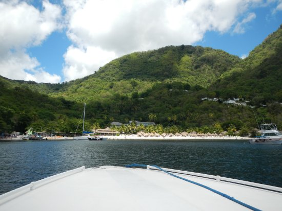 Vieux Fort, St. Lucia: The dock just to the left of the sailboat--everything to right is NOT part of tour--only to LEFT