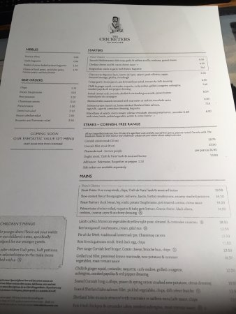 Cobham, UK : The menu