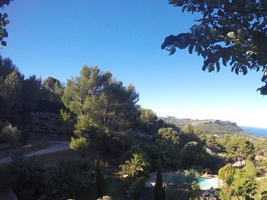Le Mas du pas d'ouillier: Vue depuis la terrasse au moment du petit déjeuner.