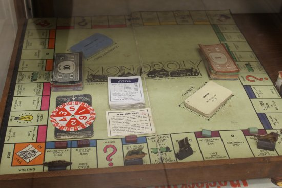 Portage, WI: Wartime Monopoly game with cardboard pieces and no dice